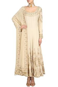Beige Sequin Embroidered Anarkali and Churidaar Set by Anushka Khanna