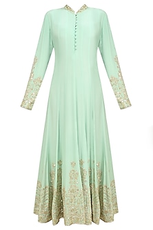 Mint Sequin Embroidered Anarkali and Churidaar Set by Anushka Khanna