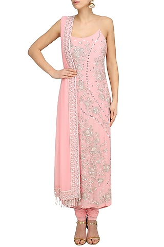 Blush Pink Floral Embroidered Kurta and Churidaar Set by Anushka Khanna
