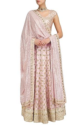 Blush Pink Floral Jaal Embroidered Lehenga Set by Anushka Khanna