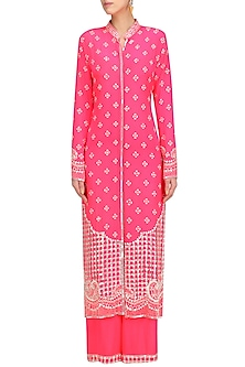 Hot Pink Embellished Jacket and Sharara Set by Anushka Khanna