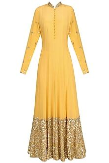 Mango Yellow Embellished Anarkali Set by Anushka Khanna