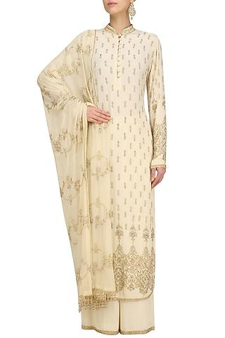 Beige Embellished Kurta and Sharara Set by Anushka Khanna