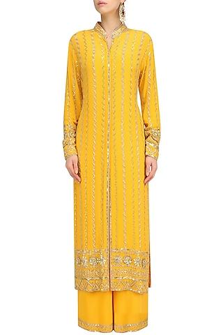 Mango Yellow Embellished Jacket and Sharara Set by Anushka Khanna
