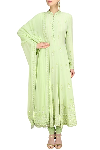 Pista Green Anarkali Set by Anushka Khanna