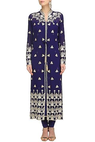Navy Blue Embroidered Jacket Kurta Set by Anushka Khanna