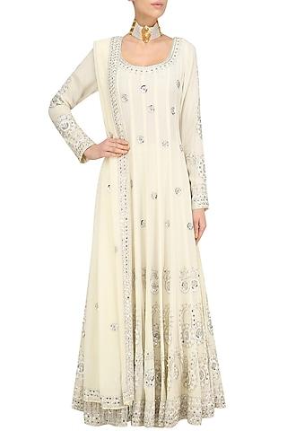 Cream Embroidered Anarkali Set by Anushka Khanna