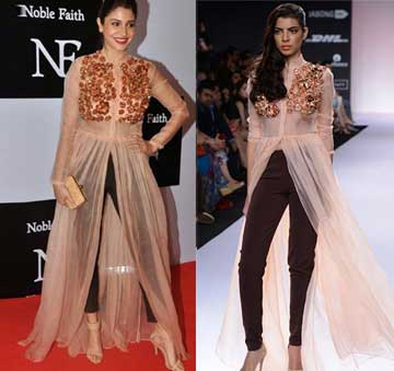 Rose pink frumpy dress with brown pants by Nikhil Thampi