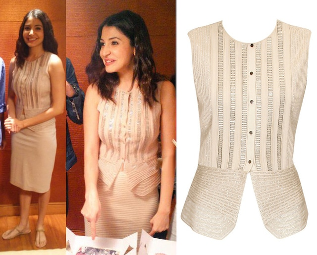 Beige sequins embellished peplum style top by Rohit Gandhi and Rahul Khanna