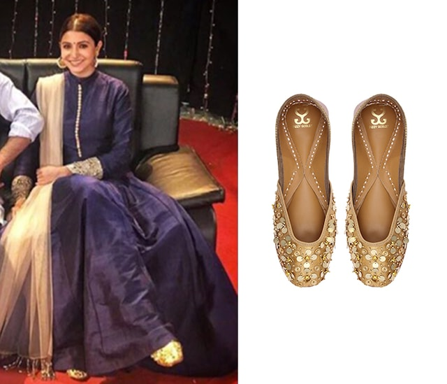 Copper Sequins Embroidered Jhilmil Caramel Juttis by Fizzy Goblet