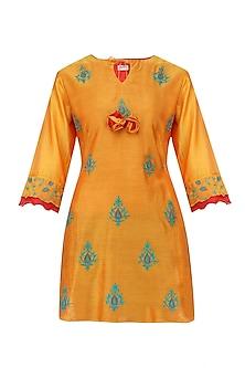 Orange Embroidered Motifs Chanderi Kurta by Anvita