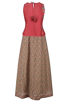 Red Floral Embroidered Top and Skirt Set by Anvita