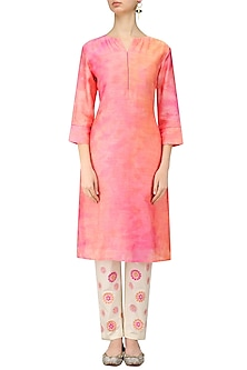 Orange Shaded Kurta and Off White Trouser Pants Set by Anvita