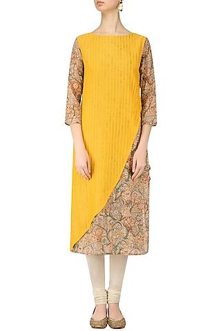 Yellow and Beige Printed Layered Kurta by Anvita