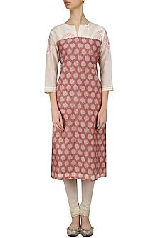 Pink and Off White Printed Chanderi Kurta by Anvita