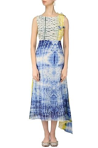 Blue, Yellow and White Tye and Dye Asymmetrical Dress by Anvita