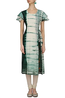 Green and White Tye and Dye Birds Embroidered Kurta by Anvita