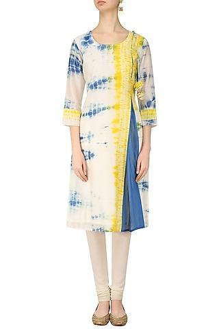 Blue, Yellow and White Tye and Dye Asymmetrical Kurta by Anvita