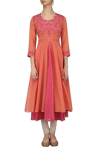 Pale Orange and Pink Applique Work Kurta by Anvita