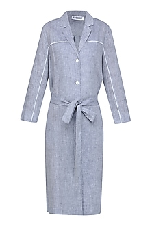 Blue Grey Heathered Classic Shirt Dress by Anomaly