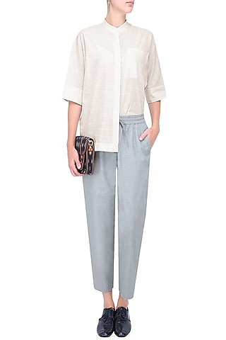 White Dolman Sleeve Striped Shirt by Anomaly