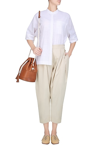 Beige Double Pleated High Waist Pants by Anomaly