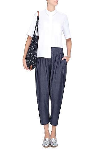Blue Double Pleated High Waist Pants by Anomaly