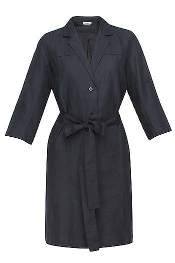 Navy blue structured cotton linen dress by Anomaly