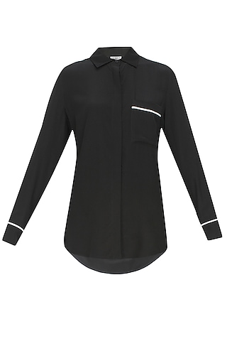 Black and contrast piping button down silk shirt by Anomaly