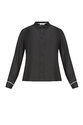 Black button down silk habotai shirt by Anomaly