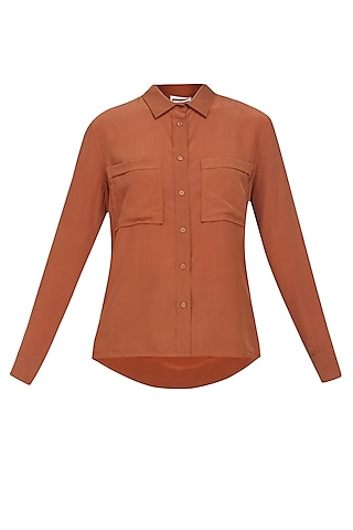 Burnt umber button down silk shirt by Anomaly
