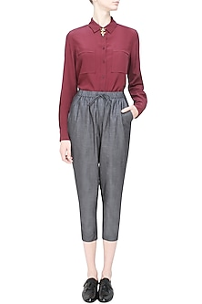 Grey relaxed drawstring pants by Anomaly