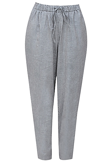 Grey and black pinstriped relaxed drawstring pants by Anomaly