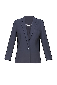 Navy blue classic city front open blazer by Anomaly