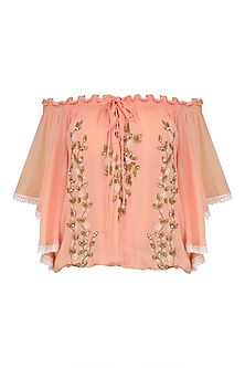 Peach Leaf Embroidered Off Shoulder Top by Nandita Mahtani