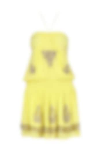 Yellow Sequin Embroidered Halter Dress by Nandita Mahtani