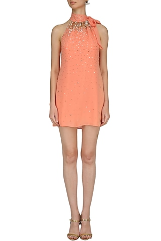Peach Sequin Embroidered Tie Up Neck Dress by Nandita Mahtani