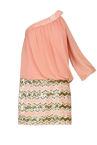 Peach Sequin Embroidered One Shoulder Dress by Nandita Mahtani