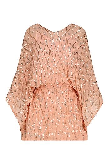 Peach Floral Embroidered Kaftan Style Dress by Nandita Mahtani