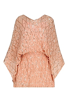 Peach Floral Embroidered Kaftan Style Dress by Nandita Mahtani