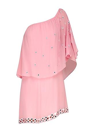 Pink Mirror Work One Shoulder Dress by Nandita Mahtani