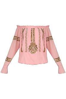 Peach Motive Embroidered Off Shoulder Top by Nandita Mahtani