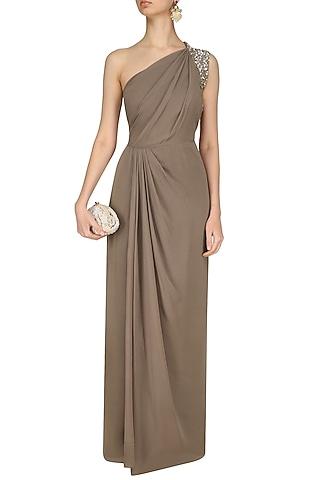 Nude Pleated One Shoulder Maxi Dress by Nandita Mahtani