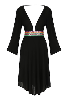 Black Abla Embroidered V-Neck Dress by Nandita Mahtani