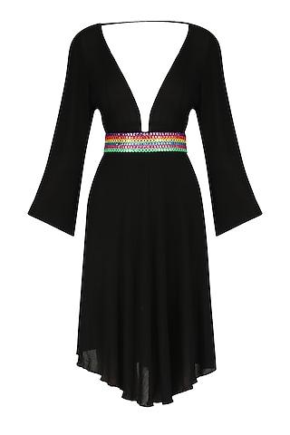 Black Abla Embroidered V-Neck Dress by Nandita Mahtani