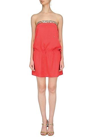 Coral Sequins Embroidered Tube Dress by Nandita Mahtani