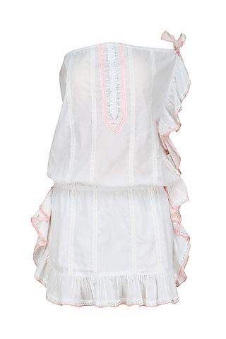 White Thread Embroidered Frill Dress by Nandita Mahtani