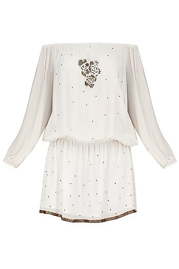 White Motive Embroidered Off Shoulder Dress by Nandita Mahtani