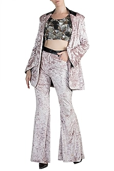 Metallic Black Embroidered Bralette, Jacket & Pants by PARNIKA