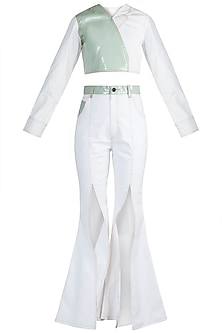White & Mint Green Top With Slit Pants by PARNIKA
